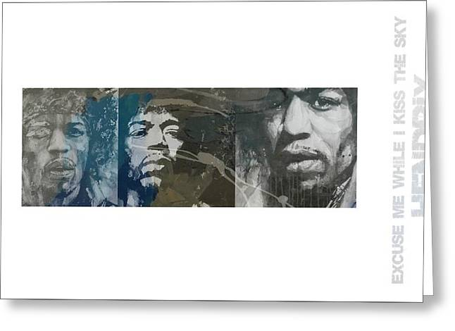 Jimi Hendrix Triptych Greeting Card