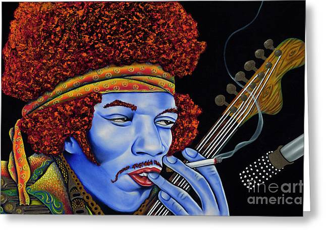 Jimi In Thought Greeting Card by Nannette Harris