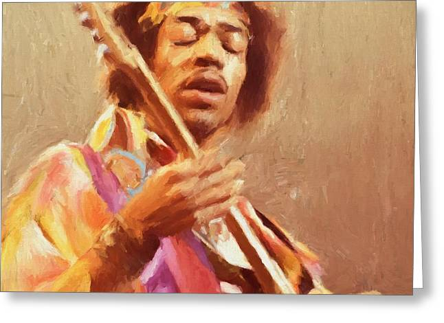 Jimi Jamming Greeting Card by Dan Sproul