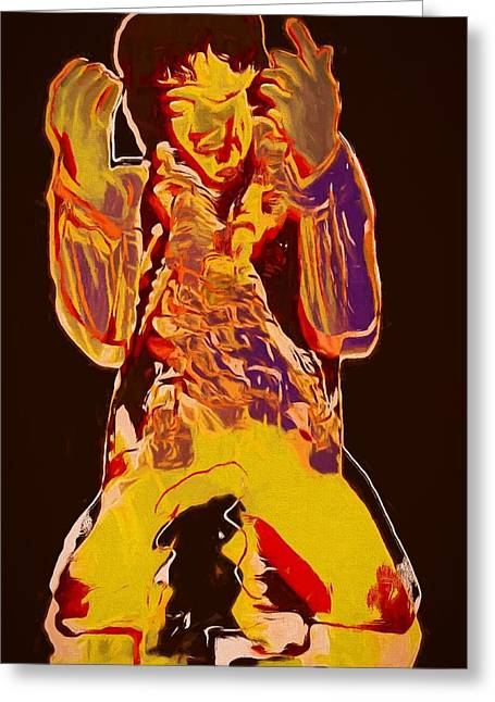 Jimi Setting Guitar On Fire Greeting Card by Dan Sproul