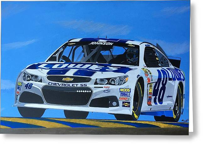 Jimmie Johnson Greeting Card by Greg Schmidt