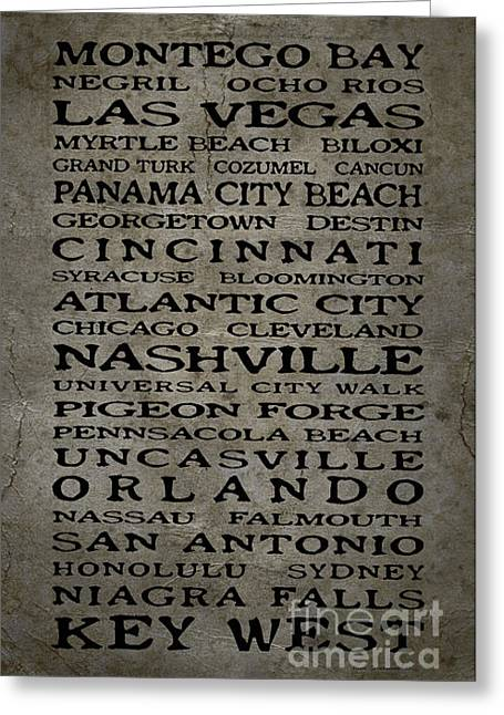 Saloon signs greeting cards page 13 of 19 fine art america jimmy buffett margaritaville locations black font on grungy gray texture greeting card m4hsunfo