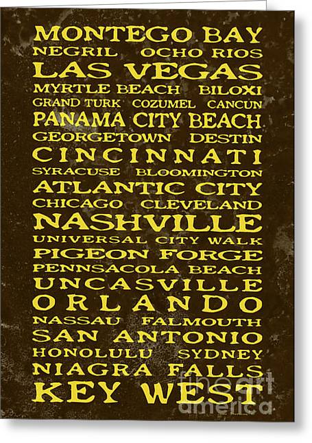 Saloon signs greeting cards page 13 of 19 fine art america jimmy buffett margaritaville locations embossed yellow on brown texture greeting card m4hsunfo