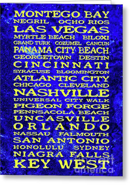 Saloon signs greeting cards page 13 of 19 fine art america jimmy buffett margaritaville locations embossed yellow on ocean floor greeting card m4hsunfo