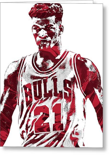 Jimmy Butler Chicago Bulls Pixel Art 2 Greeting Card