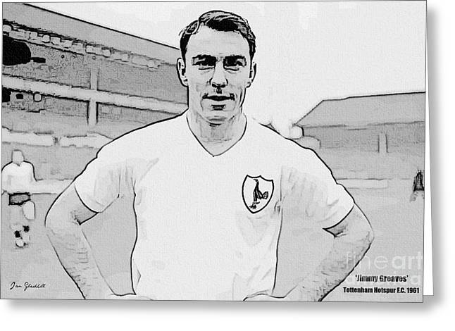 Jimmy Greaves Portrait Drawing Greeting Card