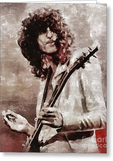 Jimmy Page By Mary Bassett Greeting Card