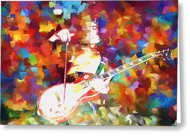 Jimmy Page Jamming Greeting Card by Dan Sproul