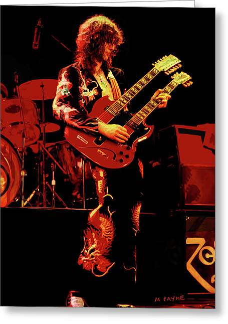 Jimmy Page Greeting Card by Michael Payne