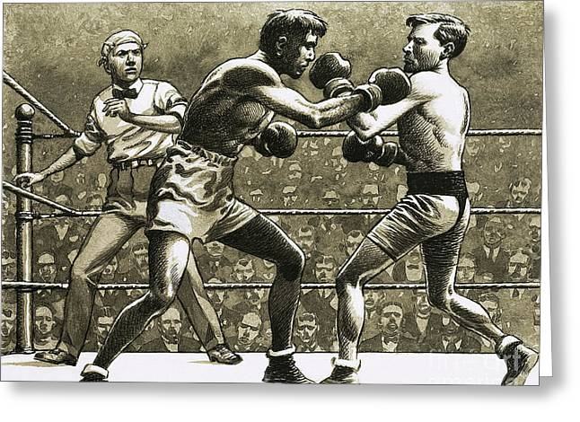 Jimmy Wilde Boxing Pancho Villa In New York Greeting Card by Pat Nicolle