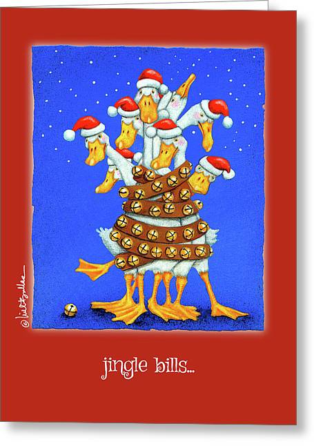 Greeting Card featuring the painting Jingle Bills... by Will Bullas