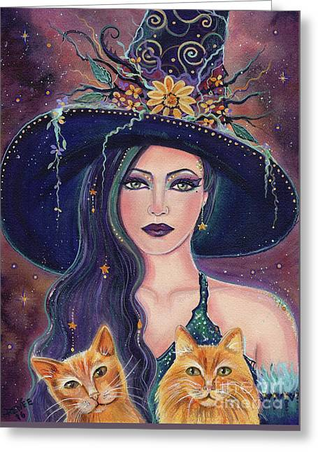 Jinx And Jazz Halloween Witch With Kitties Greeting Card