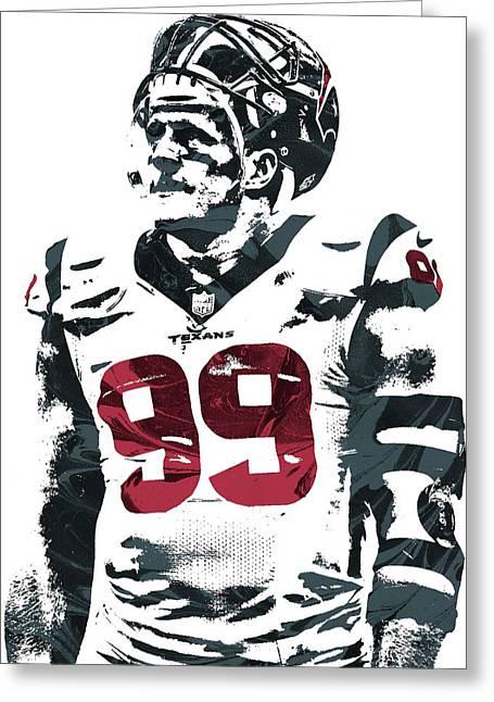 Jj Watt Houston Texans Pixel Art 4 Greeting Card by Joe Hamilton