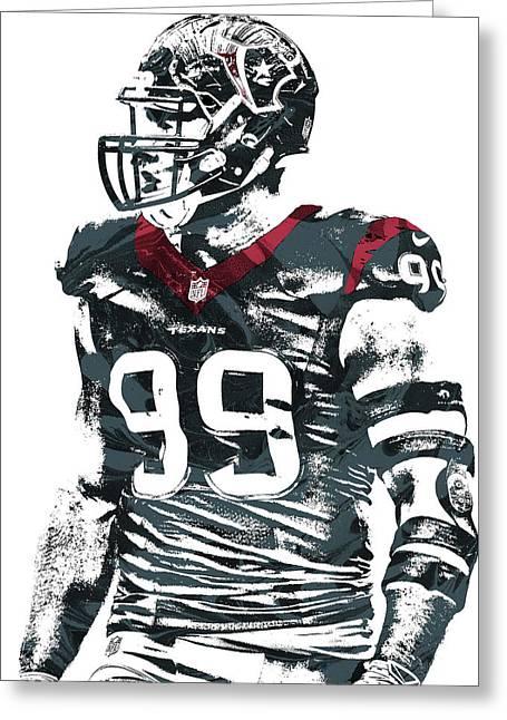 Jj Watt Houston Texans Pixel Art 6 Greeting Card by Joe Hamilton