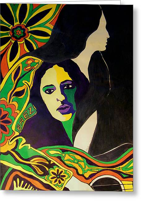 Joan Baez In The Psychodelic Age Greeting Card