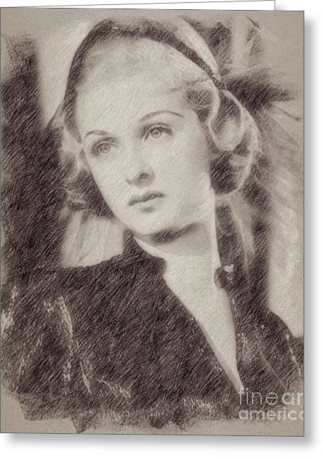Joan Bennett Vintage Hollywood Actress Greeting Card by Frank Falcon