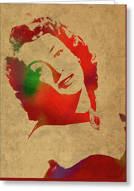 Joan Crawford Watercolor Portrait Greeting Card by Design Turnpike