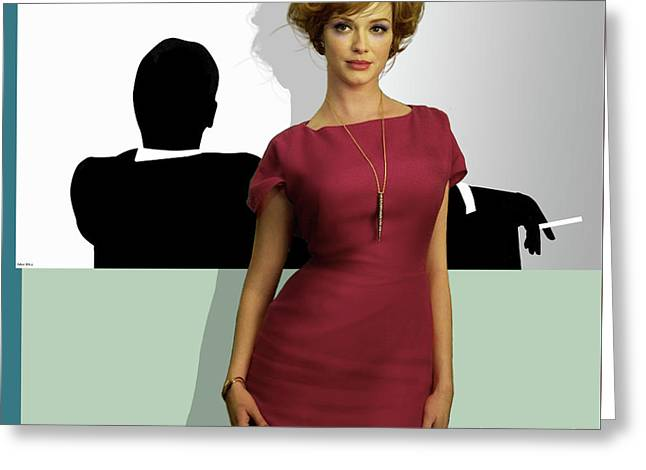 Joan Holloway, Mad Men, Don Draper Graphic Print, Sterling Cooper Pryce Greeting Card by Thomas Pollart
