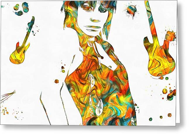 Joan Jett Colorful Paint Splatter Greeting Card by Dan Sproul