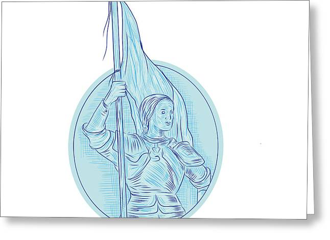 Joan Of Arc Holding Flag Oval Drawing Greeting Card by Aloysius Patrimonio