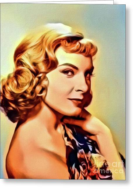 Joanne Woodward, Vintage Actress. Digital Art By Mb Greeting Card by Mary Bassett