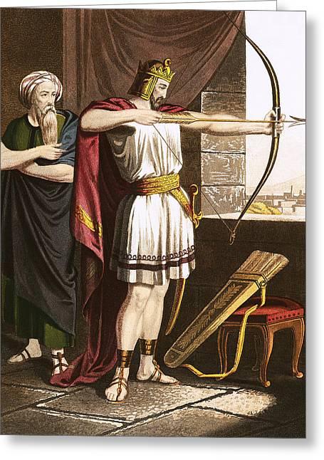 Joash Shooting Arrows At The Command Of Elisha Greeting Card