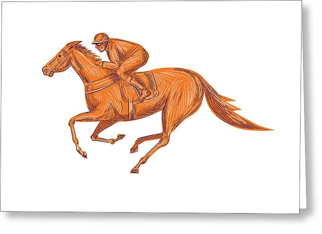 Jockey Horse Racing Drawing Greeting Card