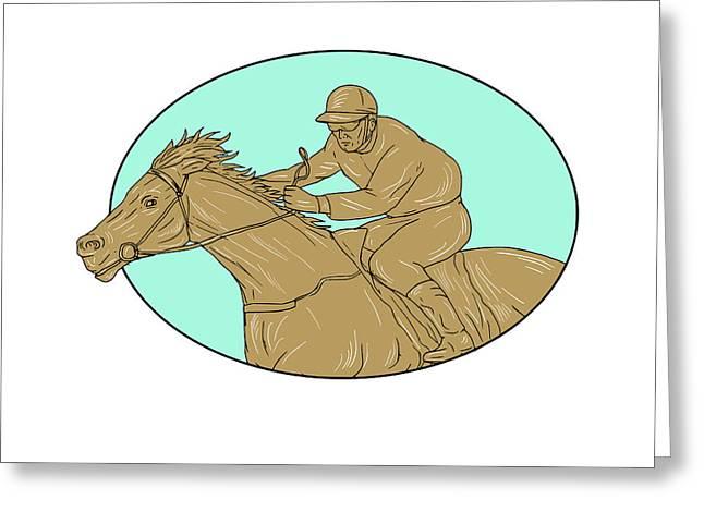 Jockey Horse Racing Oval Drawing Greeting Card