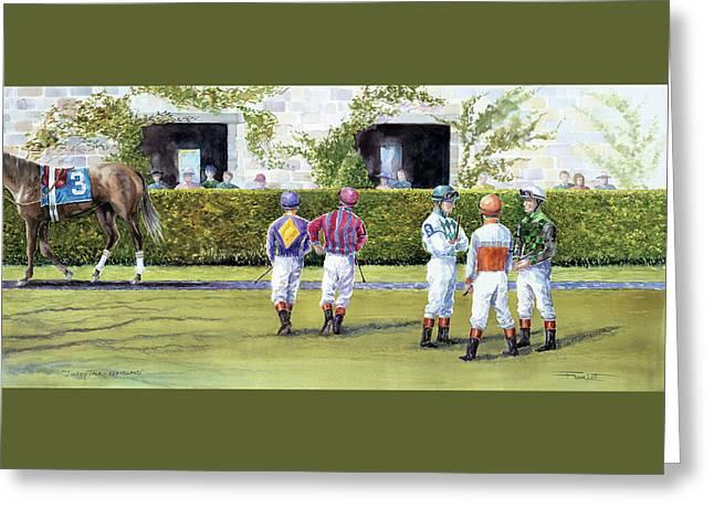 Jockey Talk At Keeneland Greeting Card