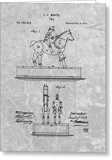 Jockey Toy Patent Charcoal Greeting Card by Dan Sproul