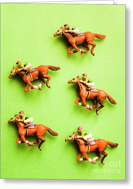 Jockeys And Horses Greeting Card