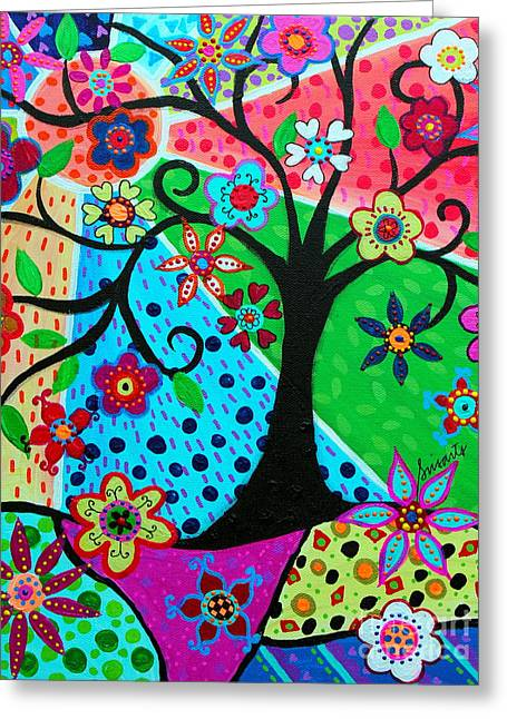 Greeting Card featuring the painting Jodi's Tree Of Life by Pristine Cartera Turkus