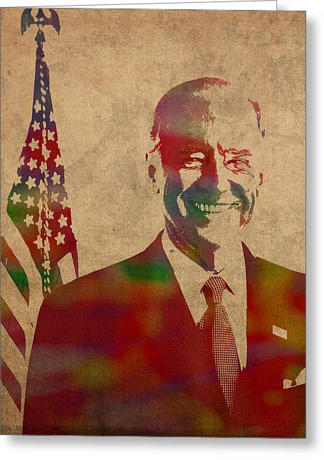 Joe Biden Watercolor Portrait Greeting Card by Design Turnpike