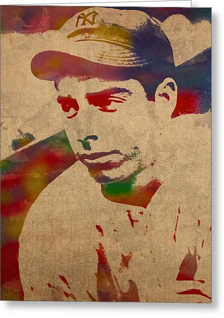Joe Dimaggio New York Yankees Baseball Player Legend Sports Star Watercolor Portrait On Worn Canvas Greeting Card
