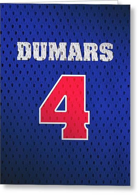 Joe Dumars Detroit Pistons Number 4 Retro Vintage Jersey Closeup Graphic Design Greeting Card