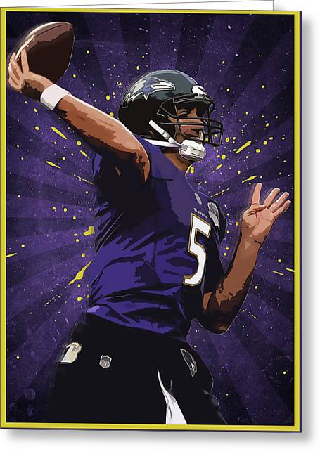 Joe Flacco Greeting Card by Semih Yurdabak