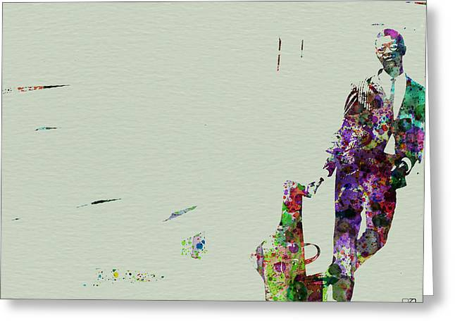 Jazz Band Greeting Cards - Joe Henderson Watercolor 2 Greeting Card by Naxart Studio