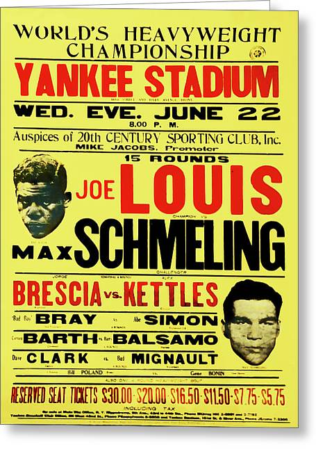 Joe Louis Vs Max Schmeling Greeting Card by Bill Cannon