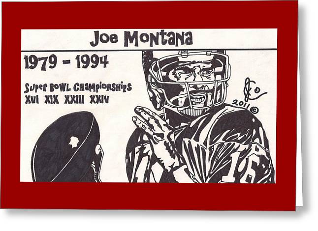 Joe Montana Stats Edition Greeting Card by Jeremiah Colley