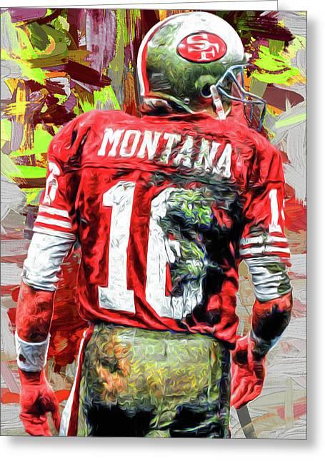 Joe Montana Football Digital Fantasy Painting San Francisco 49ers Greeting Card by David Haskett
