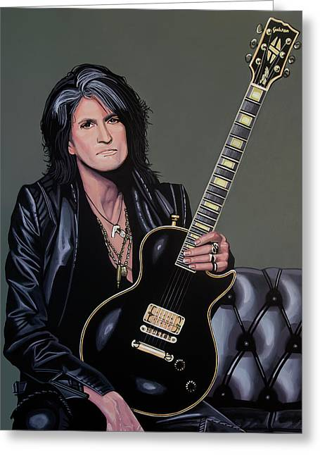 Joe Perry Of Aerosmith Painting Greeting Card by Paul Meijering