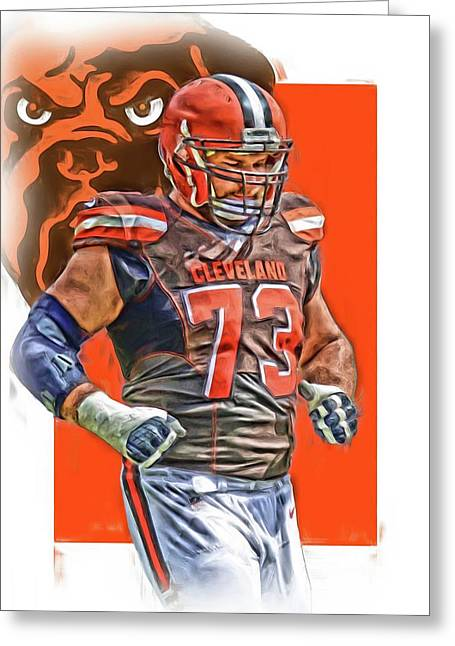 Joe Thomas Cleveland Browns Oil Art Greeting Card by Joe Hamilton