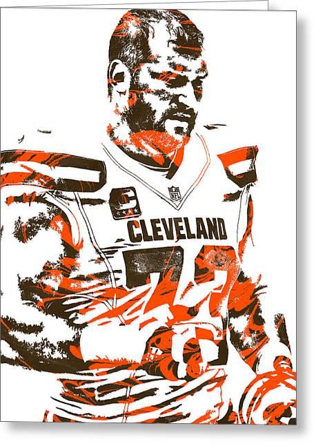 Joe Thomas Cleveland Browns Pixel Art 2 Greeting Card