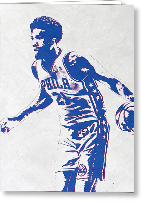 Joel Embiid Philadelphia Sixers Pixel Art Greeting Card by Joe Hamilton