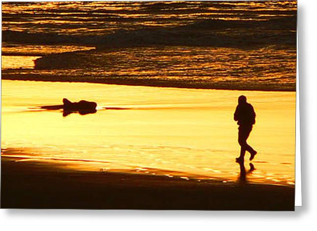 Greeting Card featuring the photograph Jog At Sunset by Larry Keahey