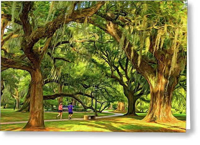 Jogging In City Park - New Orleans - Paint Greeting Card by Steve Harrington