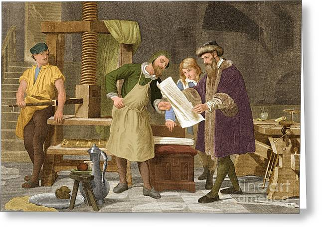 Johannes Gutenberg, German Publisher Greeting Card by Science Source