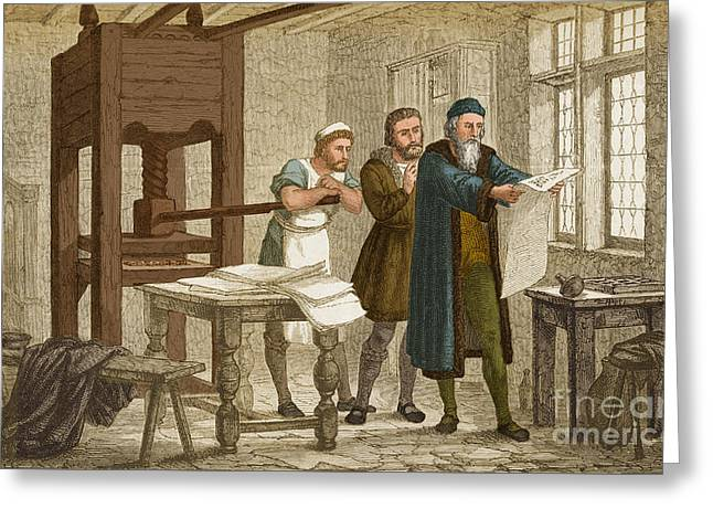 Johannes Gutenberg  Greeting Card by Science Source