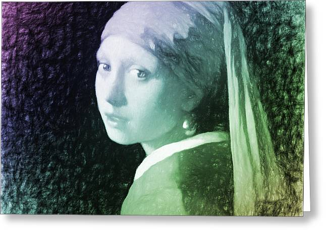 Johannes Vermeer Girl With A Pearl Earring New Age Digital Art Greeting Card