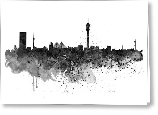 Johannesburg Black And White Skyline Greeting Card